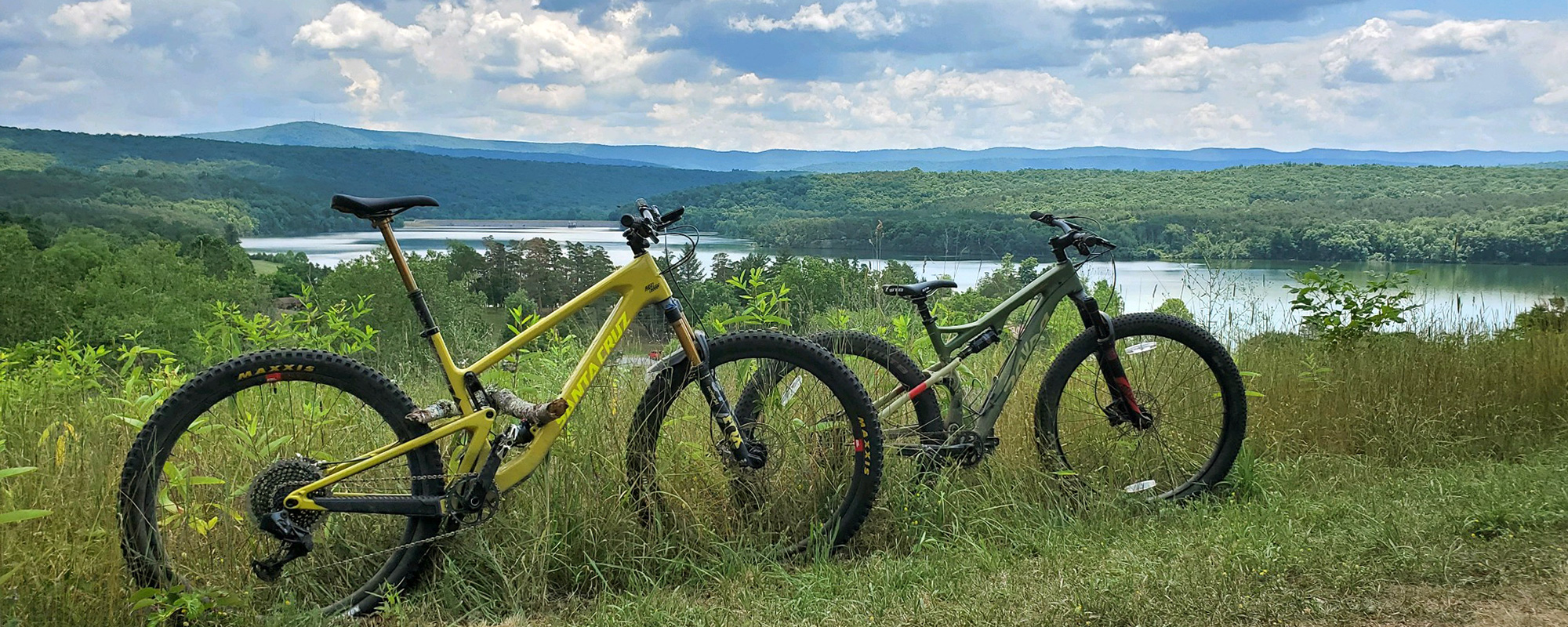 bicycle on a trail overlooking a lake